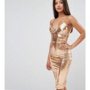 ASOS Club L Gold Metallic Dress SZ XS